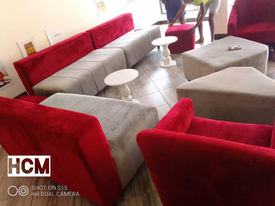 red and grey sofa set